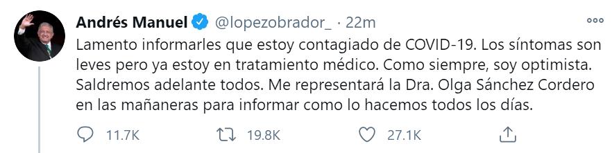 《【杏鑫娱乐app登录】快讯!外媒:墨西哥总统洛佩斯称自己感染新冠》