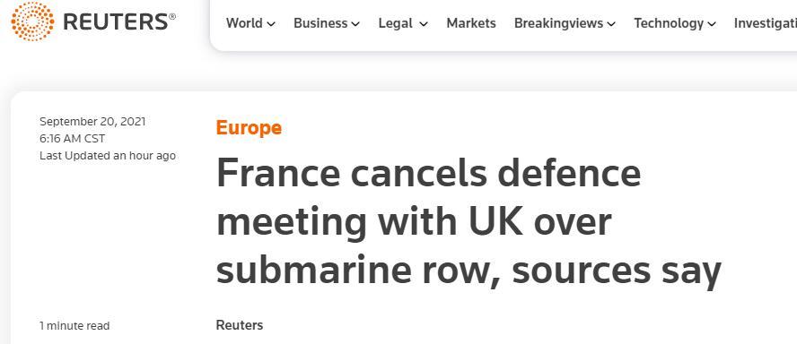 宣布召回驻美、驻澳大使后,法国又取消法英防长会晤