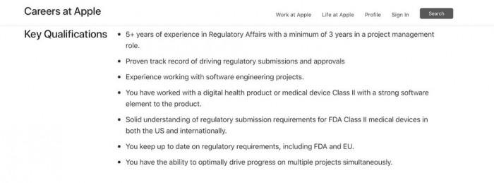 苹果发布招聘信息 可能会推出 II 类医疗产品