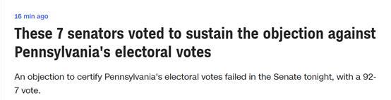 用usdt充值(www.caibao.it):快讯!美参议院投票否决了对宾州选举人票效果的否决