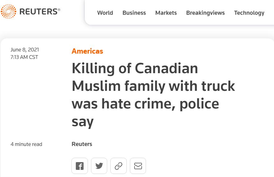江门法制惊动特鲁多!加拿大发生针对穆斯林仇恨犯罪事件,造成一家4人死亡