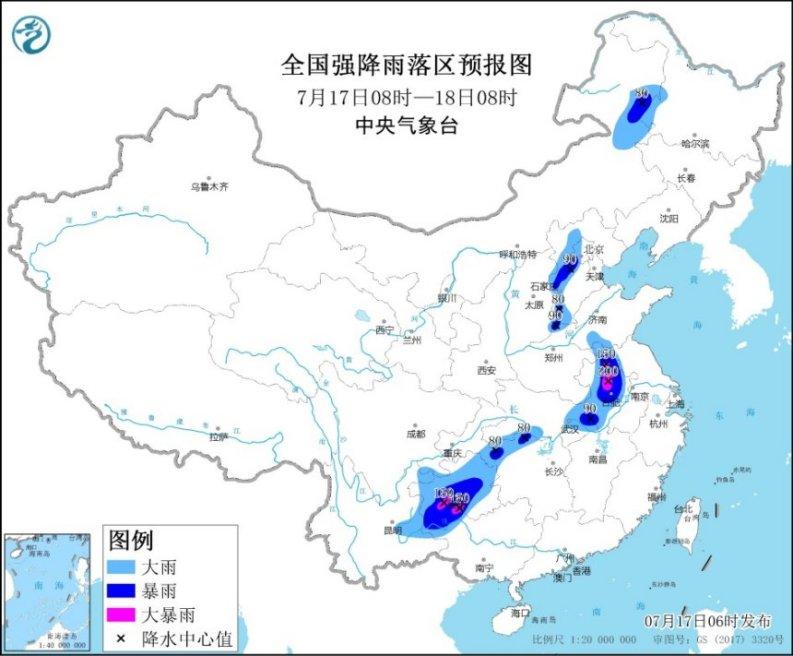 华北黄淮江淮等地有强降水 华南沿海有分散性强降水