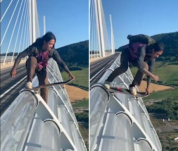 法国一男子滑板加跳伞从274米高大桥上跳下