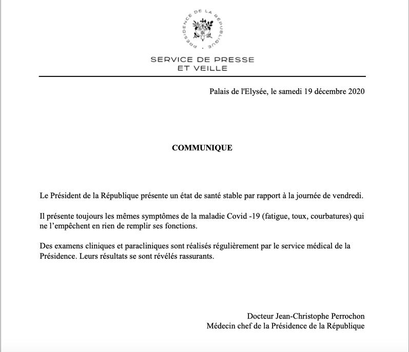 电银付加盟(dianyinzhifu.com):法国爱丽舍宫公布新闻公报:总统马克龙病情稳固 第1张