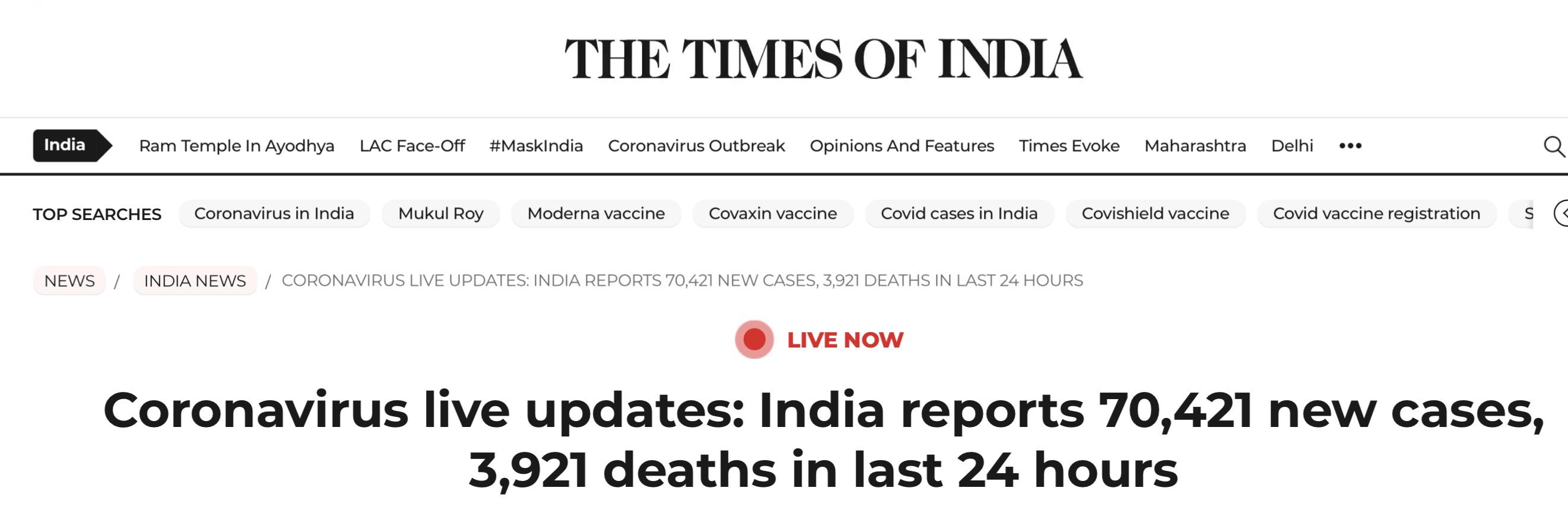《【欧亿登陆app】印度单日新增新冠确诊病例70421例,印媒:4月1日以来最低》