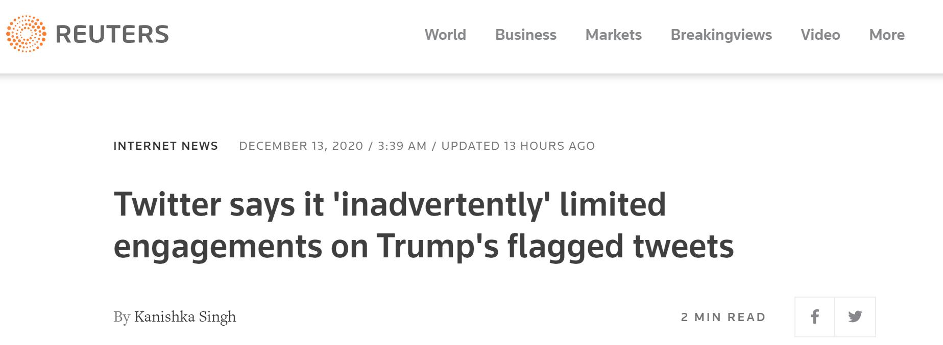 特朗普部门推文被短暂限制点赞、评论及转发,推特平台回应 第1张