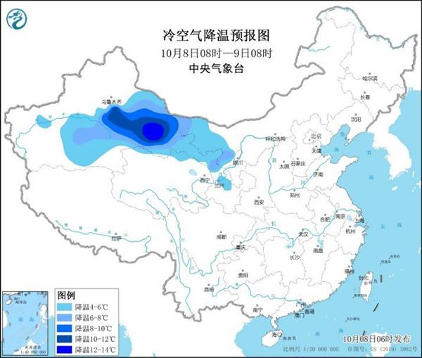 中等强度冷空气将影响我国大部地区,局地降温超10℃