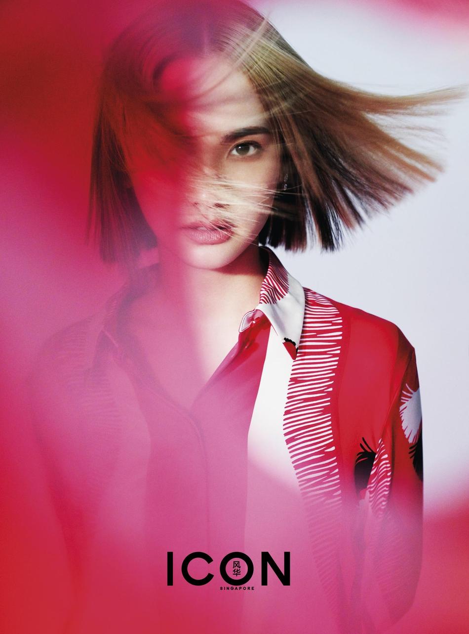 杨丞琳最新时尚大片曝光 浅色短发搭牛仔马甲清新自然