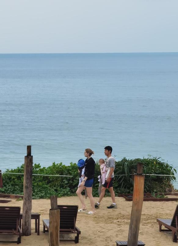 撒贝宁一家四口出游 夫妻俩带孩子沙滩散步画面温馨