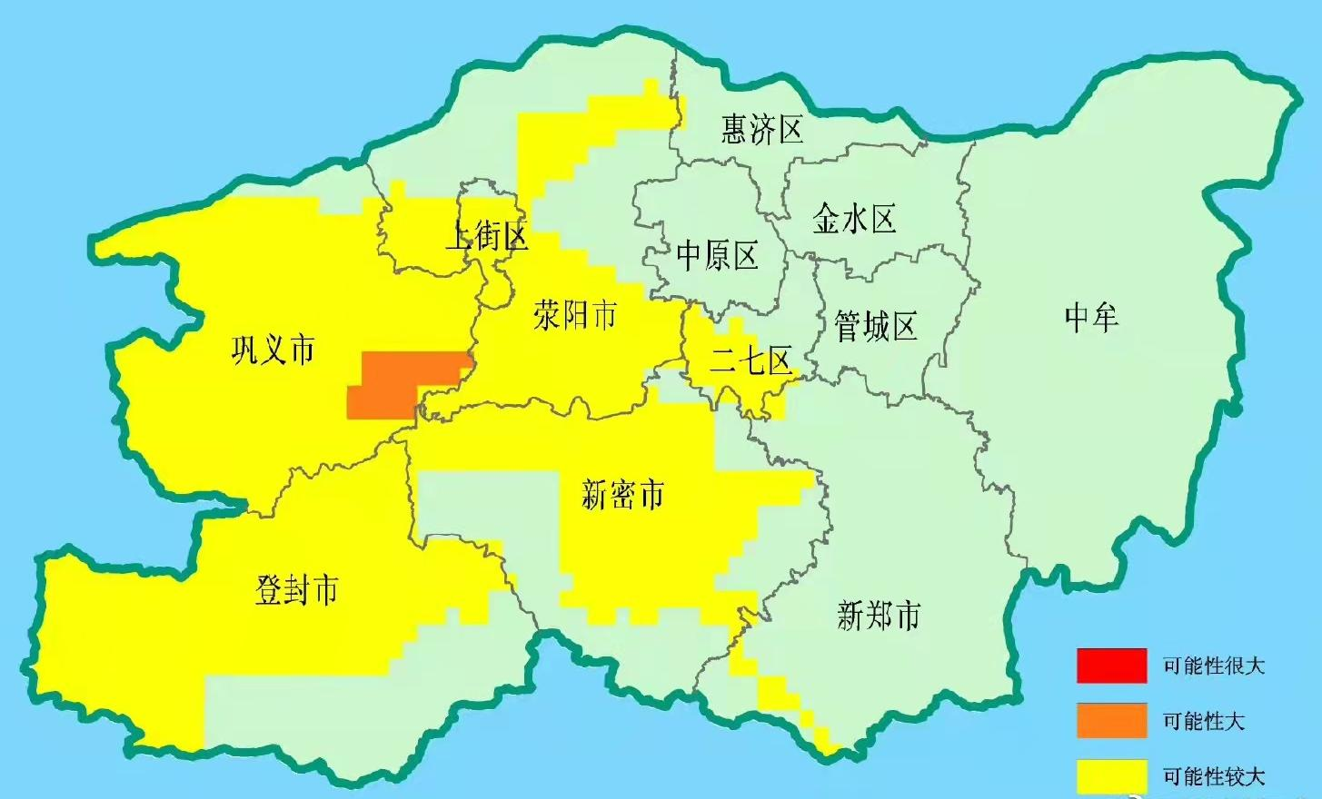 橙色+黄色预警 郑州发布汛期地质灾害气象预报预警