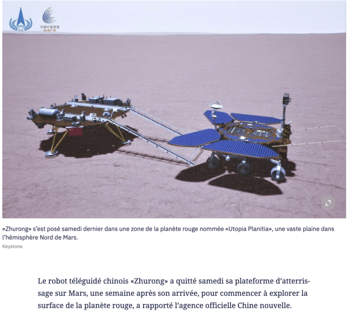 """星火娱乐:瑞士多家主流媒体关注中国火星车:""""祝融号""""开始探索红色星球"""