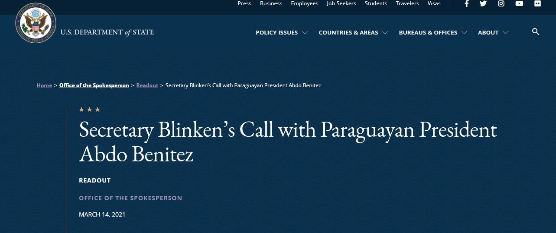 """美國務卿施壓巴拉圭總統與""""民主伙伴""""合作抗疫,特意強調""""包括臺灣"""""""