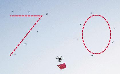 """厦门警用无人机空中摆""""70""""造型"""