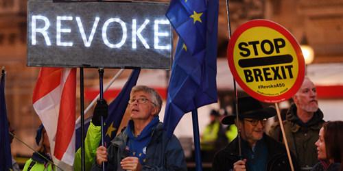"""""""脱欧""""立法时间表被否决 留欧支持者聚集议会外示威"""