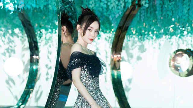 袁姗姗钻石星光长裙闪耀夺目 秀直角肩露锁骨气质优雅