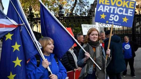 英国伦敦留欧支持者聚集议会外示威
