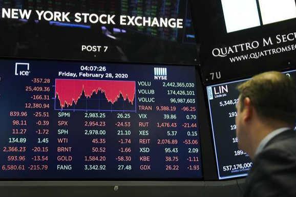纽约股市三大股指28日涨跌不一