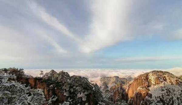 安徽黄山雪后见晴 碧空之下宛如银雕玉砌