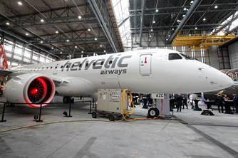 瑞士赫尔维蒂航空和巴西航空进行媒体展示