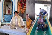 牧师在被洪水淹了的教堂举行弥撒 信众乘船参加