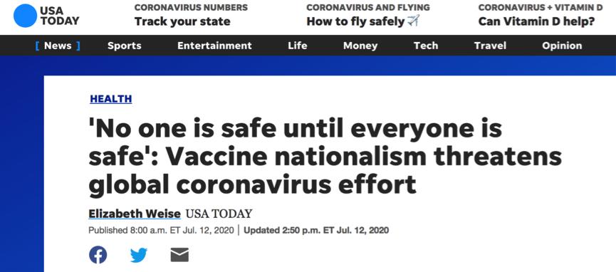 "allbetgaming开户:美媒:疫苗""民族主义""将威胁全球抗疫起劲 第1张"