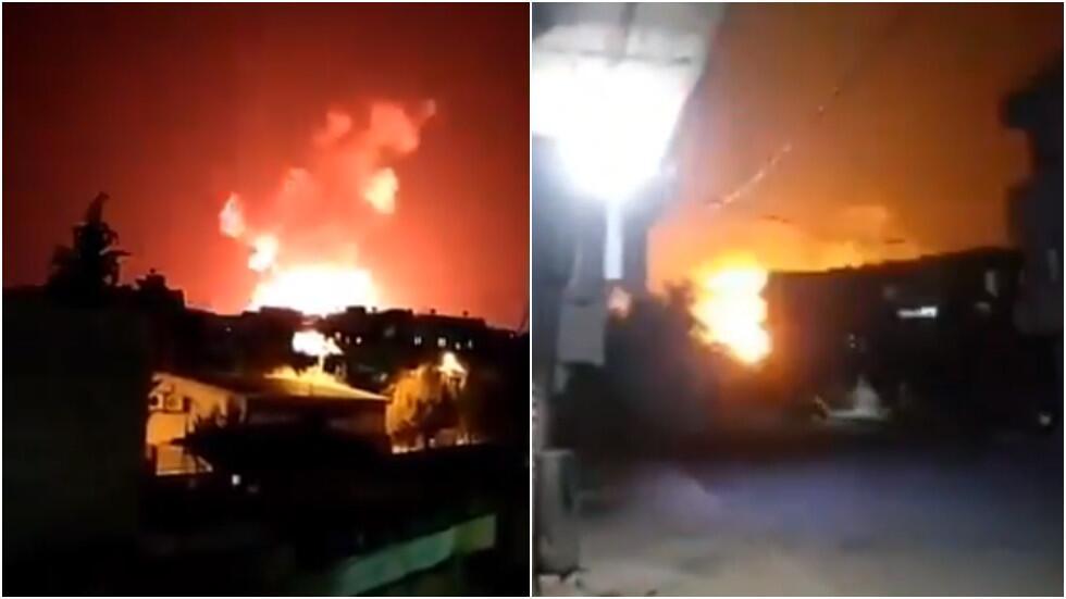 叙利亚称以色列对叙发动空袭疑似弹药库被击中火光照亮夜空