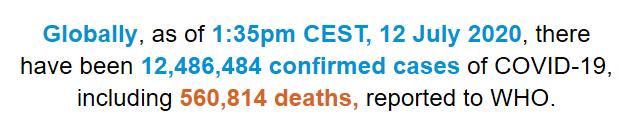 allbetgaming官网:世卫组织:全球新冠肺炎确诊病例跨越1248万例 第1张