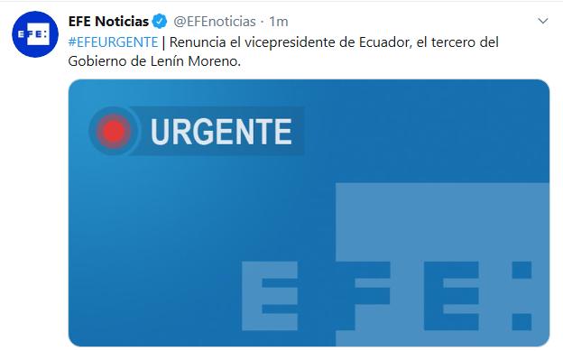 联博:厄瓜多尔副总统告退 系莫雷诺政府第三位告退的副总统 第1张