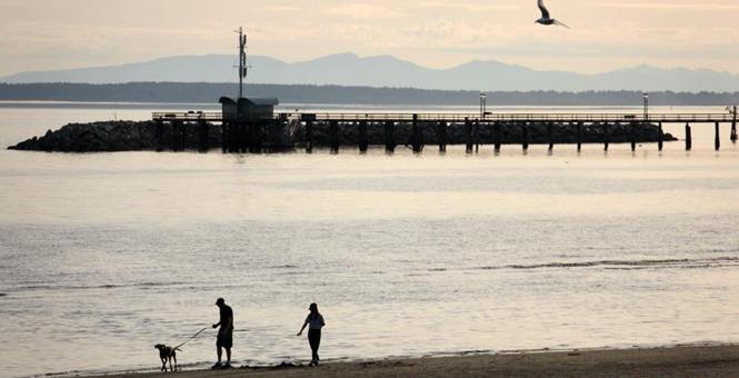 加拿大白石镇海滩风光吸引民众