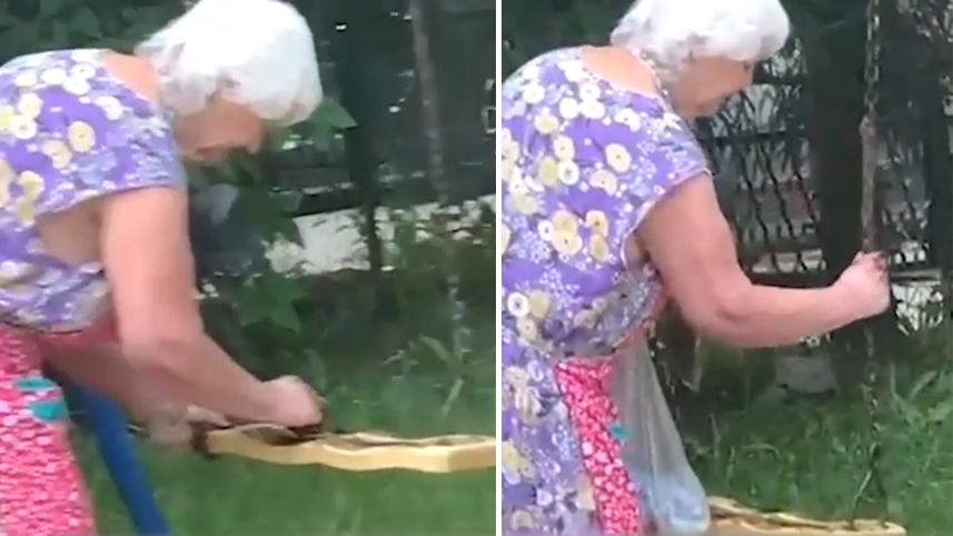 俄罗斯90岁老太给秋千抹粪便阻止孩子玩耍当地居民:她经常这么干