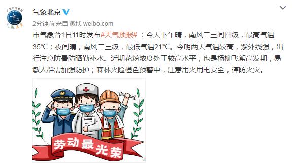 北京:今明两天气温较高,紫外线强,出行注意防暑防晒勤补水
