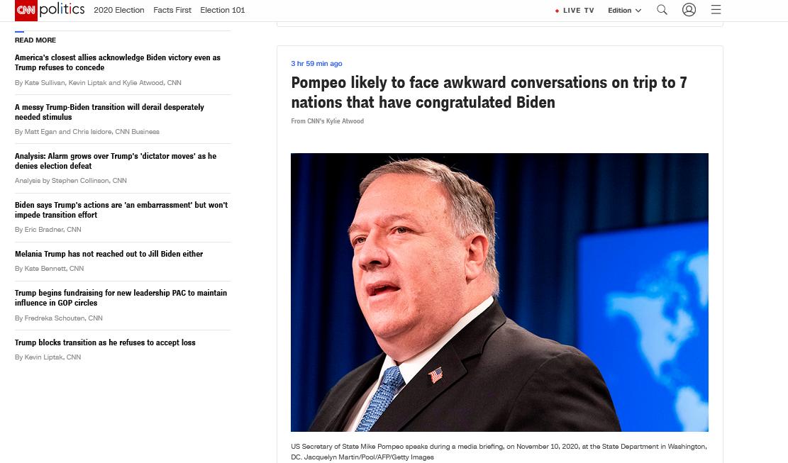 """蓬佩奥将访7个祝贺拜登""""胜选""""的国家,CNN:可能面临尴尬对话 第1张"""