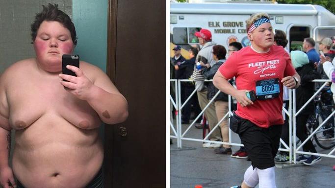 21岁男孩跑步减重166斤 5小时内完赛芝加哥马拉松