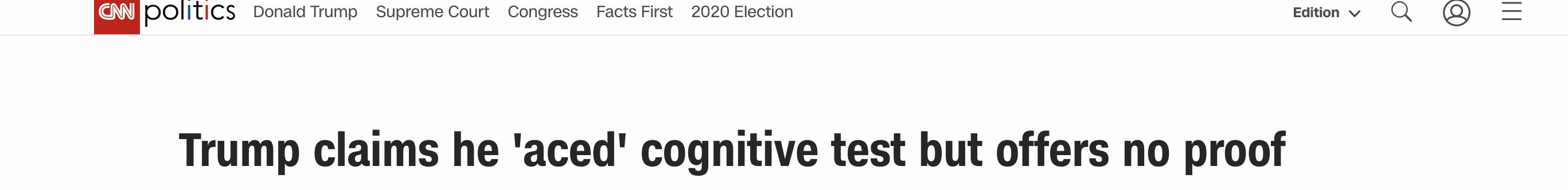特朗普自曝参加认知测验,吹嘘医生对结果感到惊讶