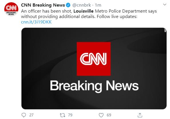美国一名警员在路易斯维尔遭枪击 第1张
