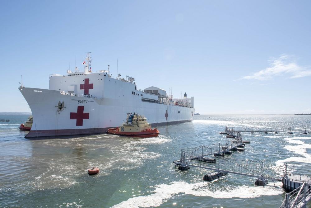 美军世界最大医院船出发奔赴美国人口第二多城市抗击疫情