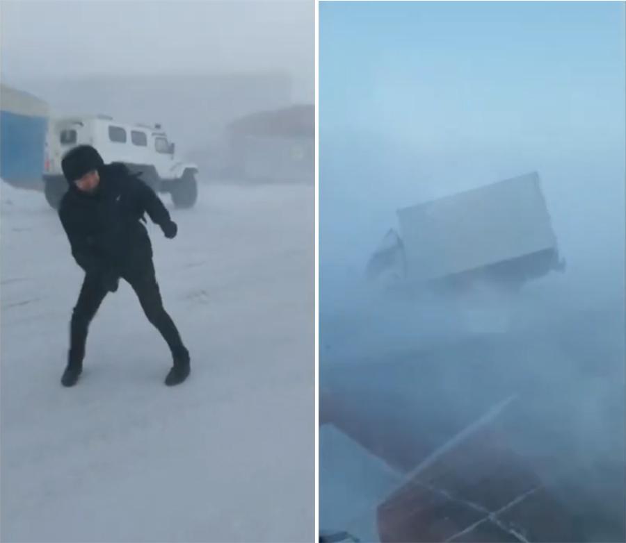 俄极北城市遭遇暴风雪阵风可达11级人站不住公交被吹斜