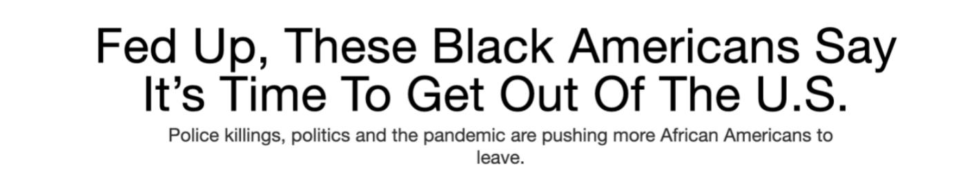 非裔悲叹:够了!是离开美国的时候了