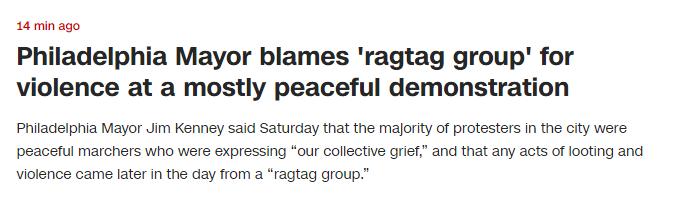"""快讯!费城市长:示威者大多数是和平表达,有""""乌合之众""""在煽动"""
