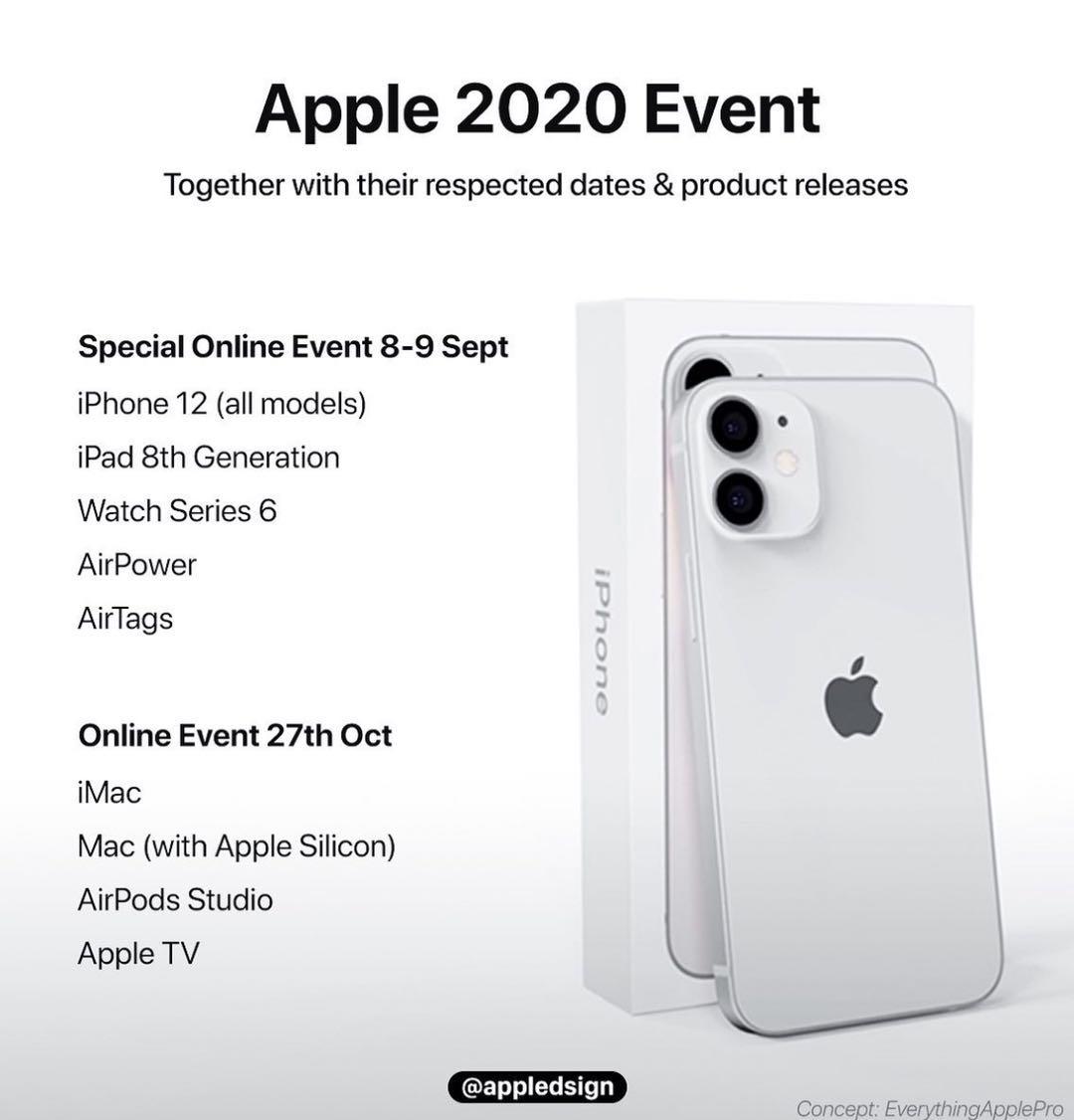 iPhone12系列新品发布会或在9月8日举行  之后将推出下一代iPad Pro以及 Apple Silicon Mac
