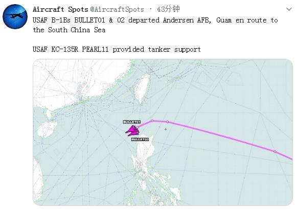 动作频频!美军两架B-1B轰炸机被曝再度飞入南海上空