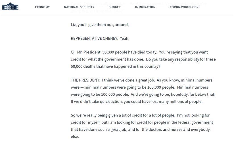 被问是否为美国5万人殒命卖力,特朗普:我以为我们做得很好