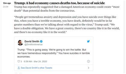 快讯!特朗普:美国经济糟糕导致的死亡人数会比因病毒死亡多
