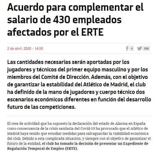 马竞官宣所有球员高层降薪70%用于资助430名员工