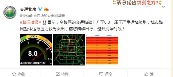 北京交通委:目前城市路网整体运行压力较为突出,请您错峰出行