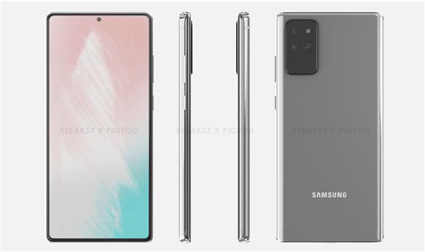 三星Galaxy Note 20渲染图曝光:挖孔屏+潜望四摄插图1