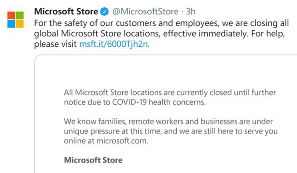 微软宣布将关闭全球所有微软商店 重新开业时间将另行通知