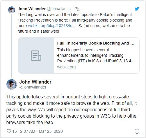苹果为Safari引入更新后的第三方Cookie阻止功能