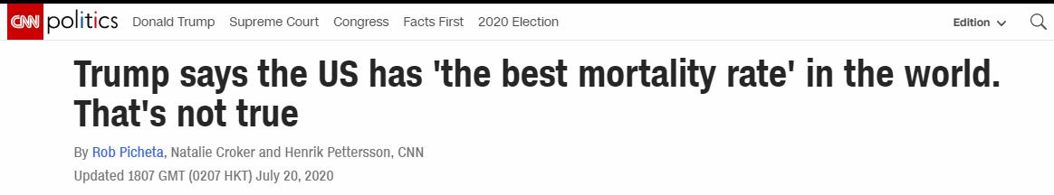 """欧博真人游戏手机版:特朗普挥舞""""证据""""自诩""""美国新冠死亡率天下最低"""",CNN:你错得连边都不沾!  第1张"""