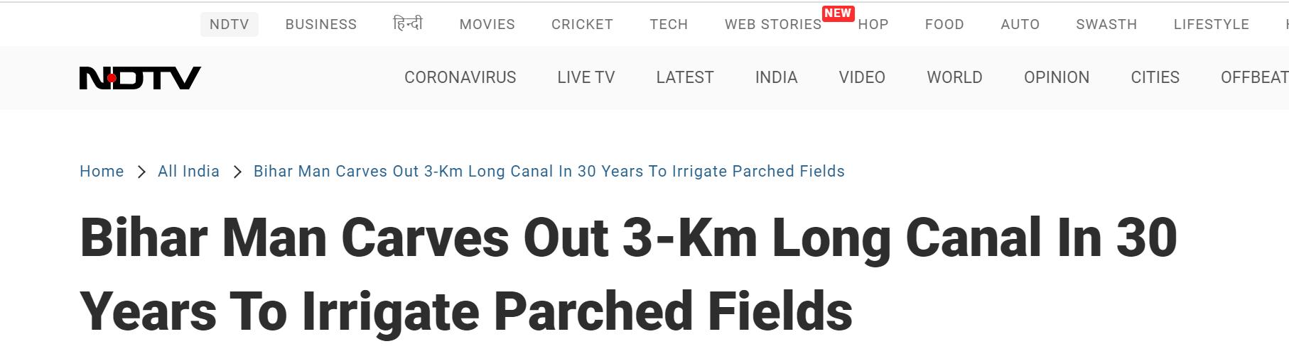 环球ug注册:惠及全村!印度男子花30年挖3公里长水渠,从山上引水到村里